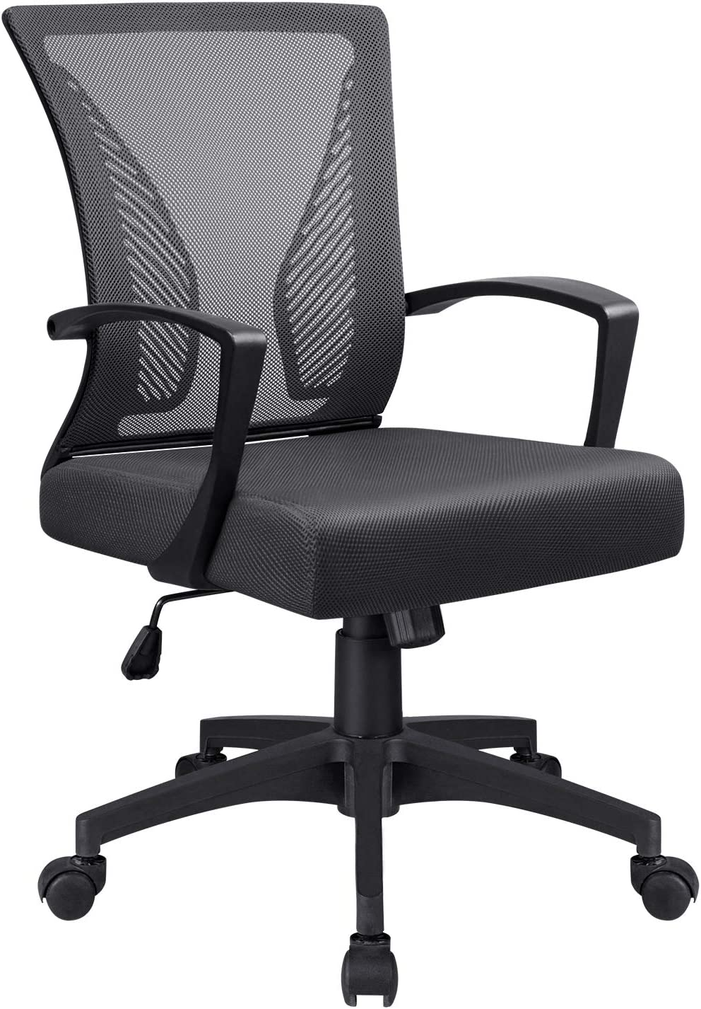 Office Chair Mid Back Mesh Desk Chair Ergonomic Lumbar Support Computer Chair Swivel Rolling Task Chair with Armrest (Black)