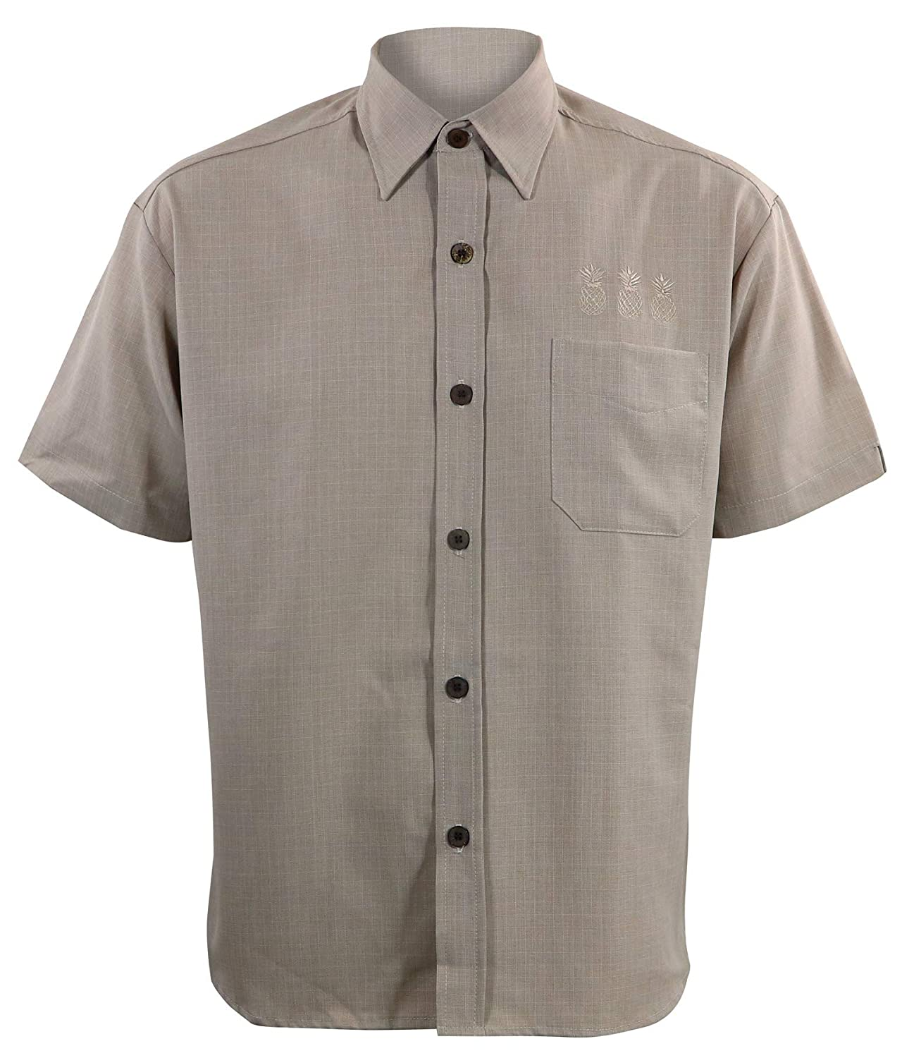 Mens Vintage Shirts – Retro Shirts Steady Clothing Mens Pineapple Mixer Button Up Bowling Shirt Stone $57.99 AT vintagedancer.com