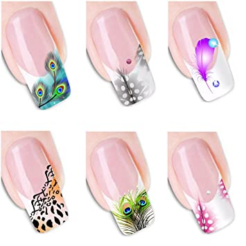 Amazon 6pcs Different Designs Nail Art Sticker Bird Feather