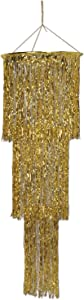 Beistle 1-Pack 3-Tier Shimmering Chandelier, 4-Feet, Gold