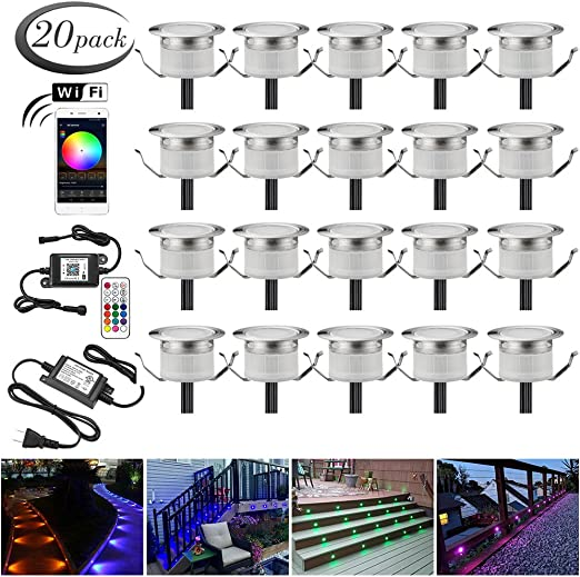 LED Deck Lighting Kits FVTLED 6pcs WiFi Controller /Φ1.97 Low Voltage LED Deck Lighting RGB Recessed Light Work with Alexa Google Home Wireless Smart Phone RGB Lamp