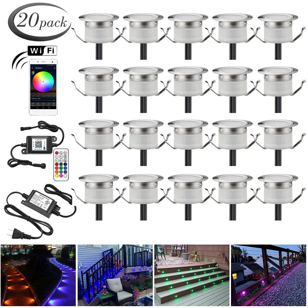 LED Deck Lights Kit, 20pcs Φ1.22'' WiFi Wireless Smart Phone Control Low Voltage Recessed RGB Deck Lamp In-ground Lighting Waterproof Outdoor Yard Path Stair Landscape Decor, Fit for Alexa,Google Home by Sumaote