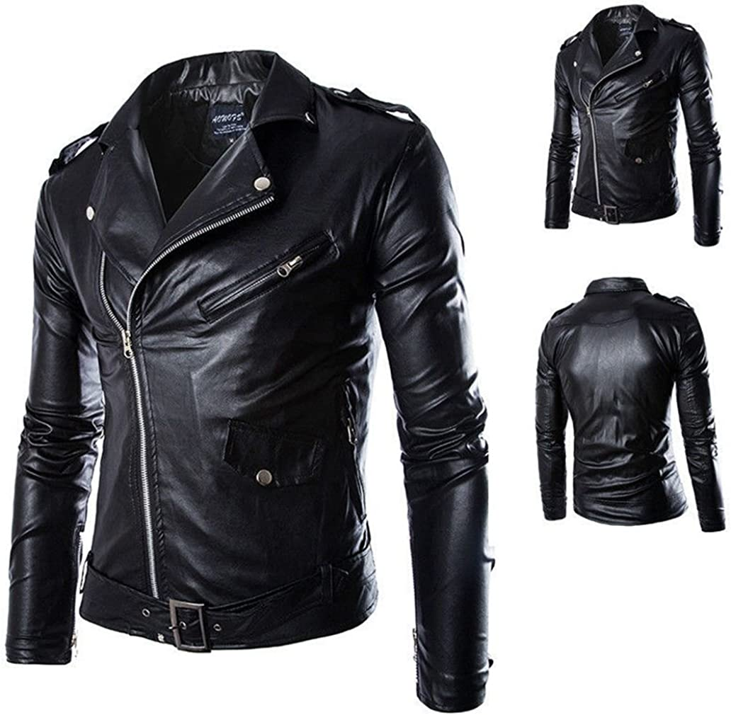 YIYOU Mens Jacket Slim Fit Faux Leather Outerwear Jackets Neu Trends