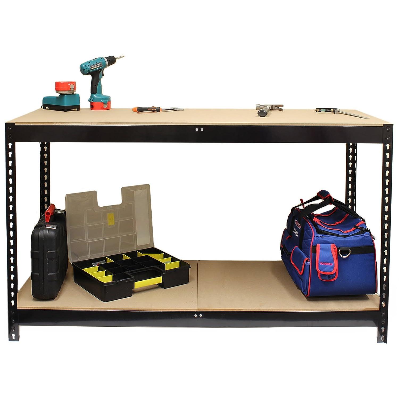 Hardcastle Black Steel Work Bench with 2 Shelves –  Size 90 cm or 150 cm
