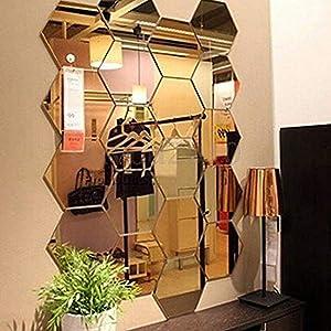 Mirror Wall Stickers, 12PCS Hexagon Mirror Art DIY Home Decorative Hexagonal Acrylic Wall Sheet Plastic Tiles Home Living Room Bedroom Sofa TV Background Wall Decal Decoration (Gold)