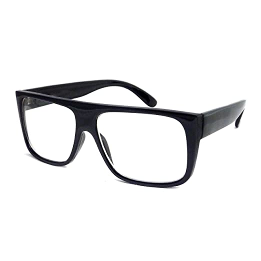 73cd43ebfcd Image Unavailable. Image not available for. Color  RETRO Mob Flat Top Unisex  Square Frame Clear Lens Eye Glasses BLACK