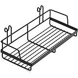 "Rumcent Shelf Basket For Grid Panel,Wire Hanging Organizer Rack Bin Storage Grid Mountable,Plant Pot Holder,11.9"" Width x 5.6"" Depth"