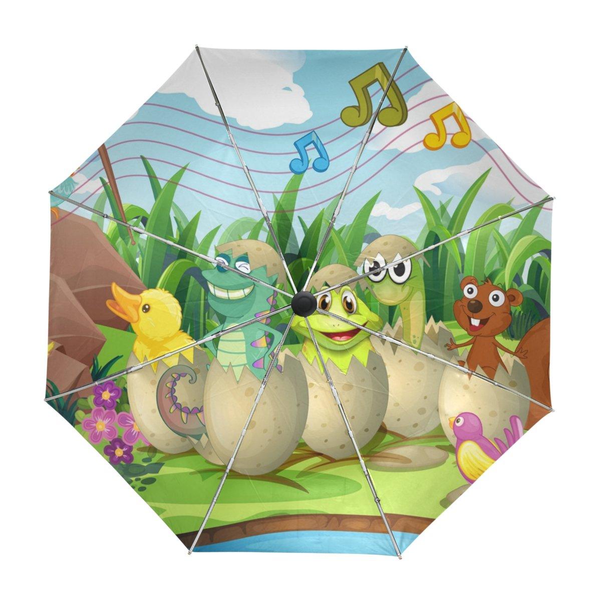ALAZA Animales Lindos en Cáscaras de Huevo de Dibujos Animados de Viaje Paraguas de Apertura automática Cerca de Protección UV a Prueba de Viento Ligero ...