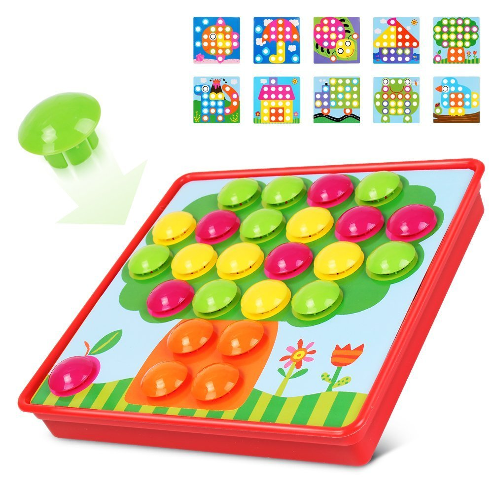 Amazon.com: LUBA SAN Art Toy Color Matching Mosaic Pegboard Puzzle ...
