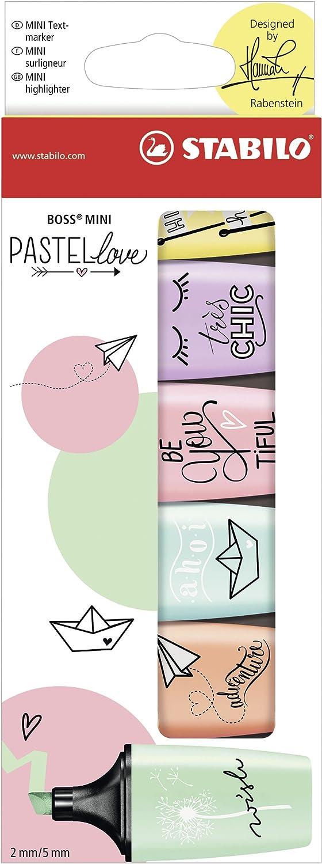 Marcador pastel STABILO BOSS mini - Edición Pastel Love - Estuche con 6 colores