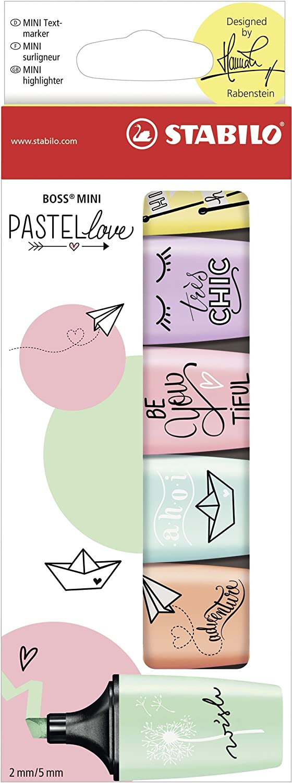 Lot de 10 surligneurs STABILO BOSS MINI Pastellove Teint de p/êche Surligneur pastel