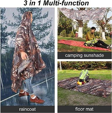 Glenmore Poncho de Lluvia Multifuncional 3 en 1 Impermeable Impermeable Reutilizable//Lona Parasol//Alfombra de Tierra para Ciclismo Senderismo Camping al Aire Libre Estampado de Camuflaje