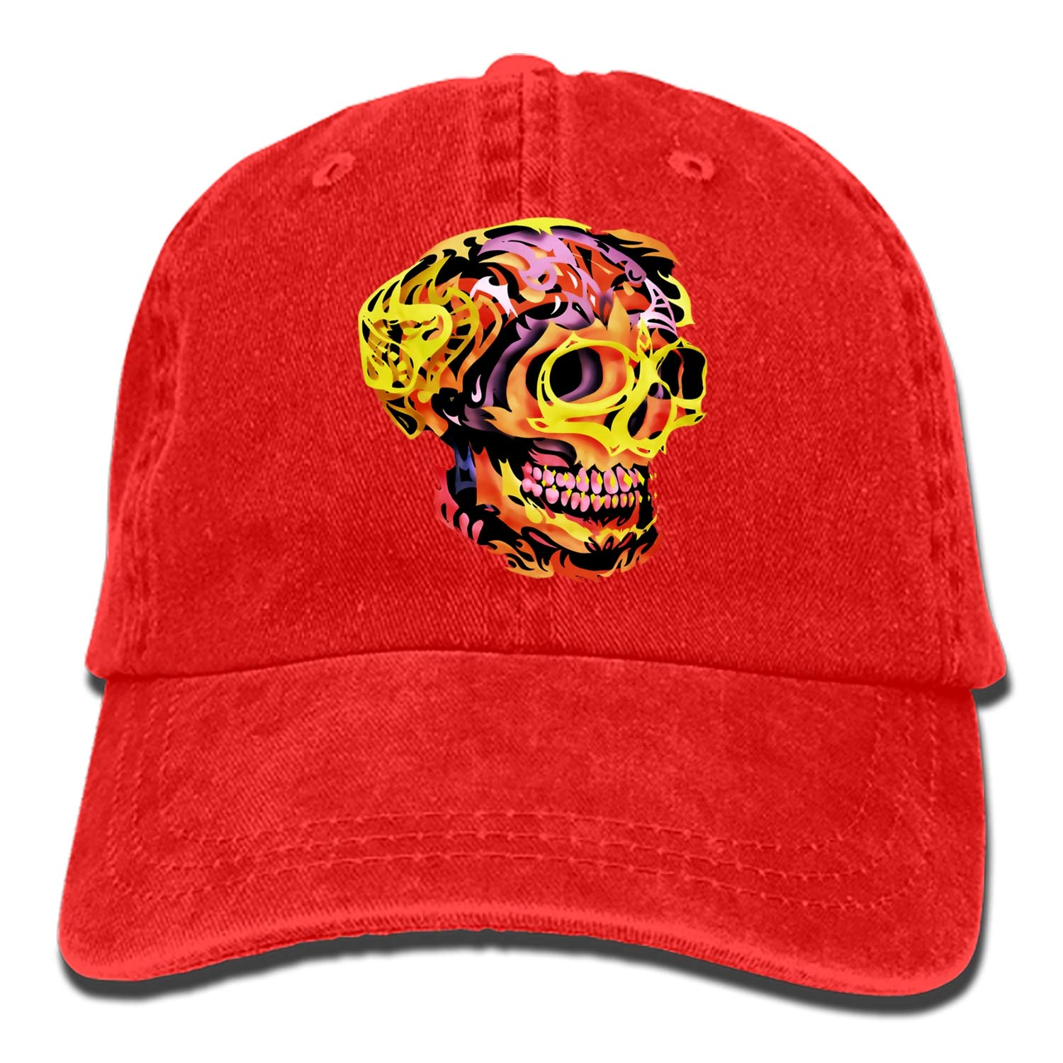 SHUANGRENDE Positive Skull Vintage Adjustable Jean Cap Gym Caps for Adult