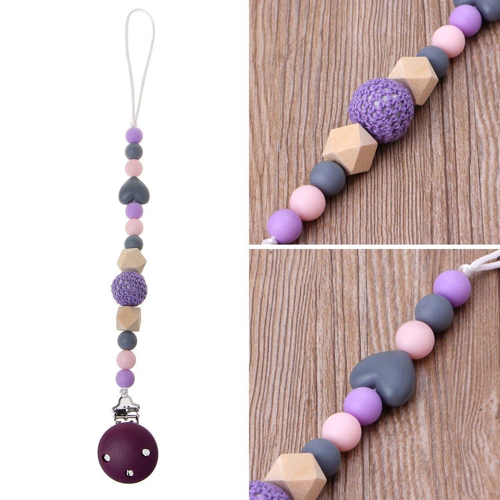 MIsha Cadena de chupete útil Clip de madera lindo chupete de bebé púrpura, 31cm