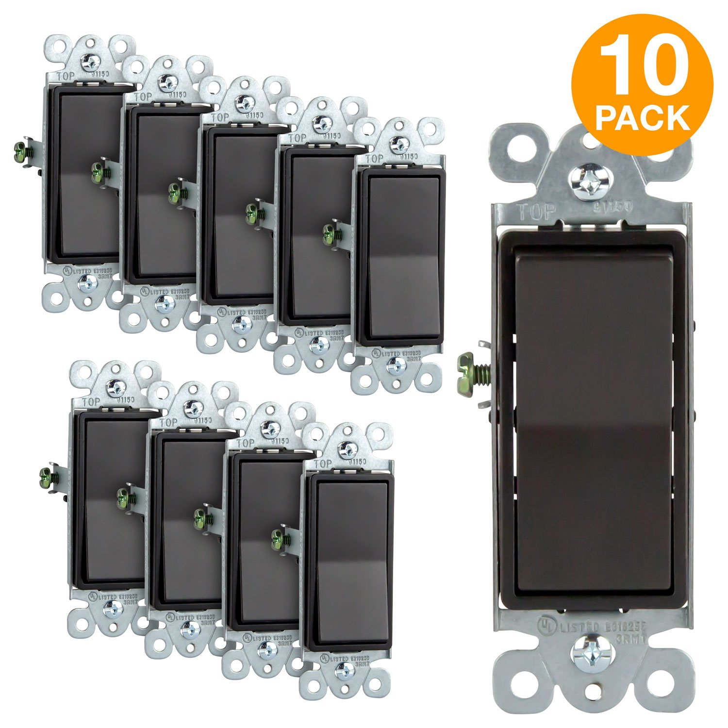 Enerlites Light Switch On/Off Paddle Wall Switch 91150-DB | 15 Amp, 120V/277V, AC, Single Pole, 3 Wire, Grounding Screw, Residential Grade Light Switch, UL Listed | Dark Bronze, 10 Pack