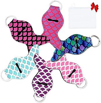 14 Pieces Chapstick Holder Keychain Mermaid Lipstick Key Chain Holder Lip Blam