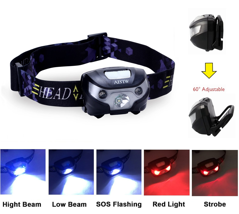 Regulable pesca luz blanca Linterna frontal 5 Modos de luz senderismo alpinismo y paseo con el perro por la noche USB recargable LED Linterna frontal caza acampad ciclismo con luz roja