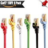 Cat 7 Ethernet Cable 10 ft 6 Pack ( Highest Speed Cable ) Cat7 Flat Shielded Ethernet Patch Cables - Internet Cable for Modem, Router, Lan, Computer - Compatible with Cat 5e, Cat 6 Network