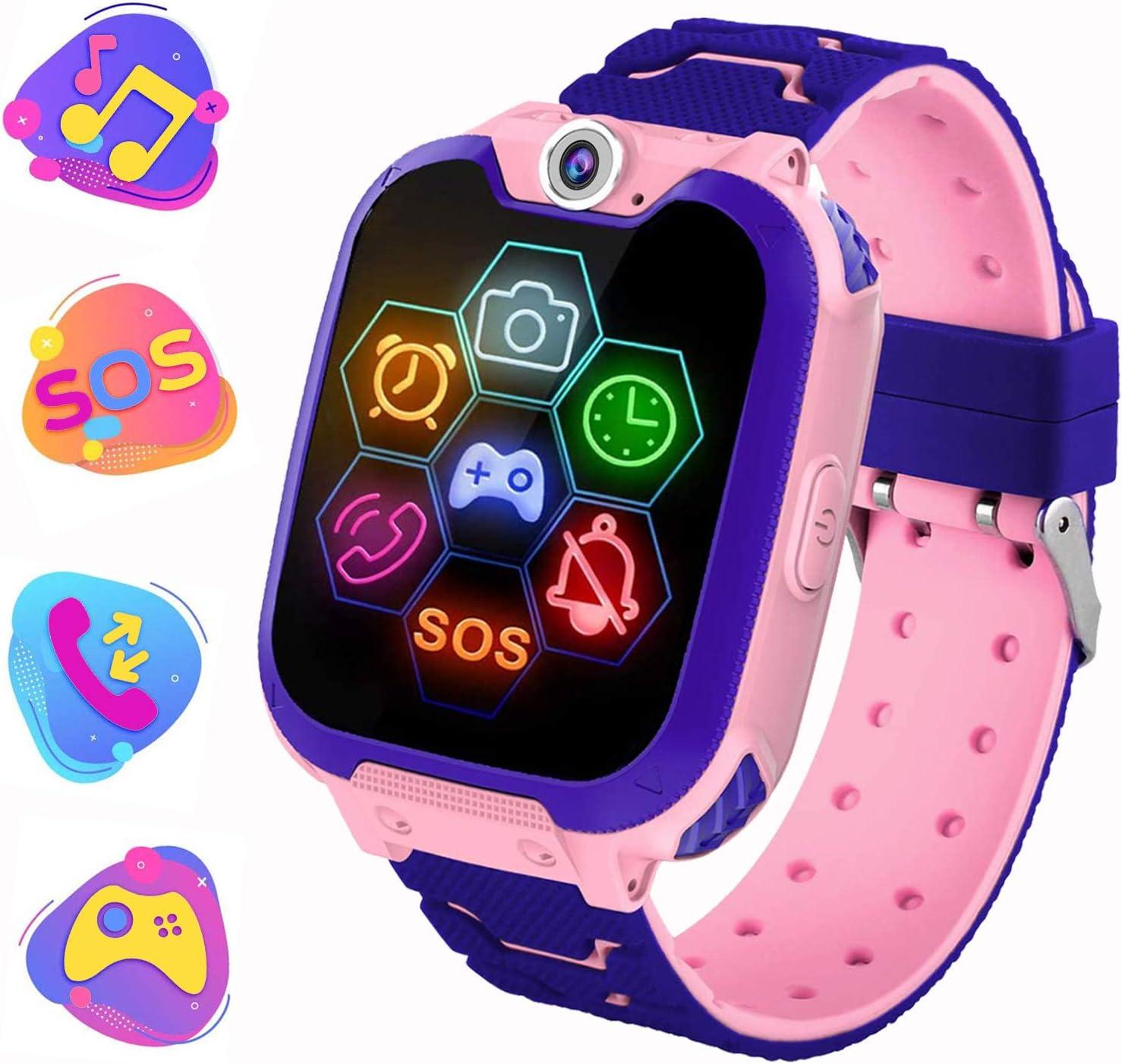 PTHTECHUS Reloj Inteligente para Juegos Infantiles con MP3 Player - [1GB Micro SD Incluido] Llamada de Pantalla táctil de 2 vías Juego de Alarma cámara Reloj Regalo de Juguete de cumpleaños (Rosa)