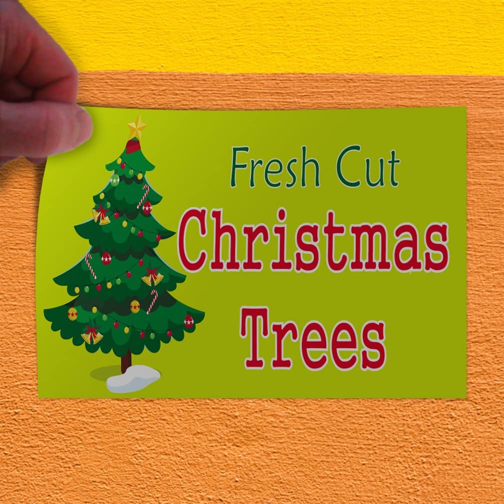 54inx36in Decal Sticker Multiple Sizes Fresh Cut Christmas Tree Holidays and Occasions Christmas Outdoor Store Sign Red Set of 2