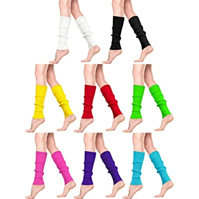 8 Pairs Women Knit Leg Warmers 80s Eighty's Ribbed Leg Warmers for Party Sports: Clothing