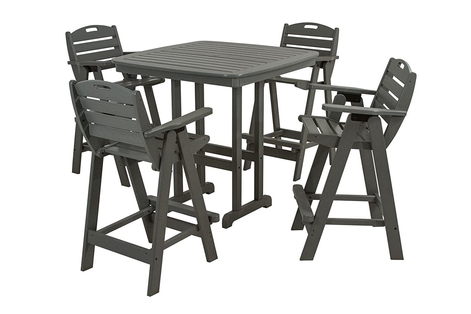 Amazon.com : POLYWOOD PWS144 1 GY Nautical 5 Piece Bar Set With Table And  Chair, Slate Grey : Patio Chairs : Garden U0026 Outdoor
