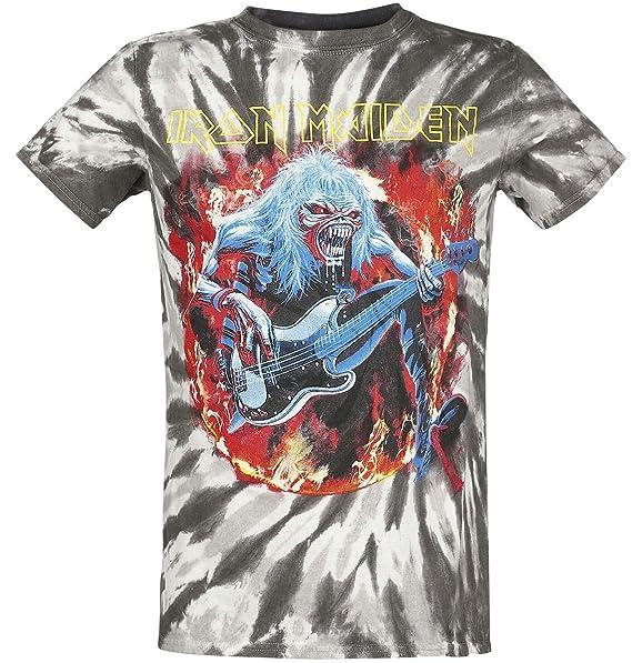 Iron Maiden Eddie Bass Camiseta Gris/Negro L: Amazon.es: Ropa y accesorios