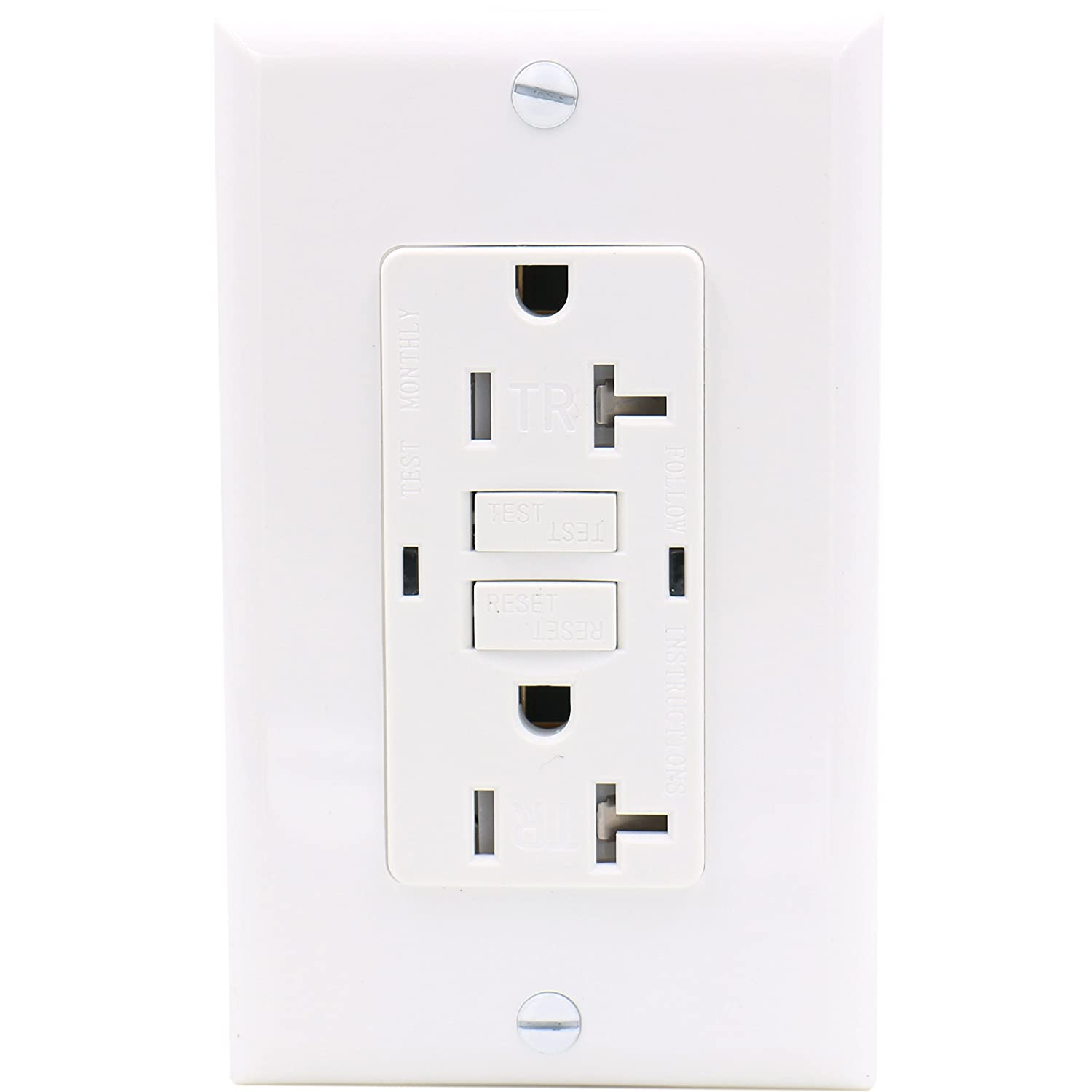 Baomain GFCI Outlet Receptacle 20Amp 120VAC 60Hz Tamper-Resistant Outlet, Ground Fault Circuit Interruptor, LED Indicator UL& CUL Listed with Wall Plate White GP GFR-20TR-PW
