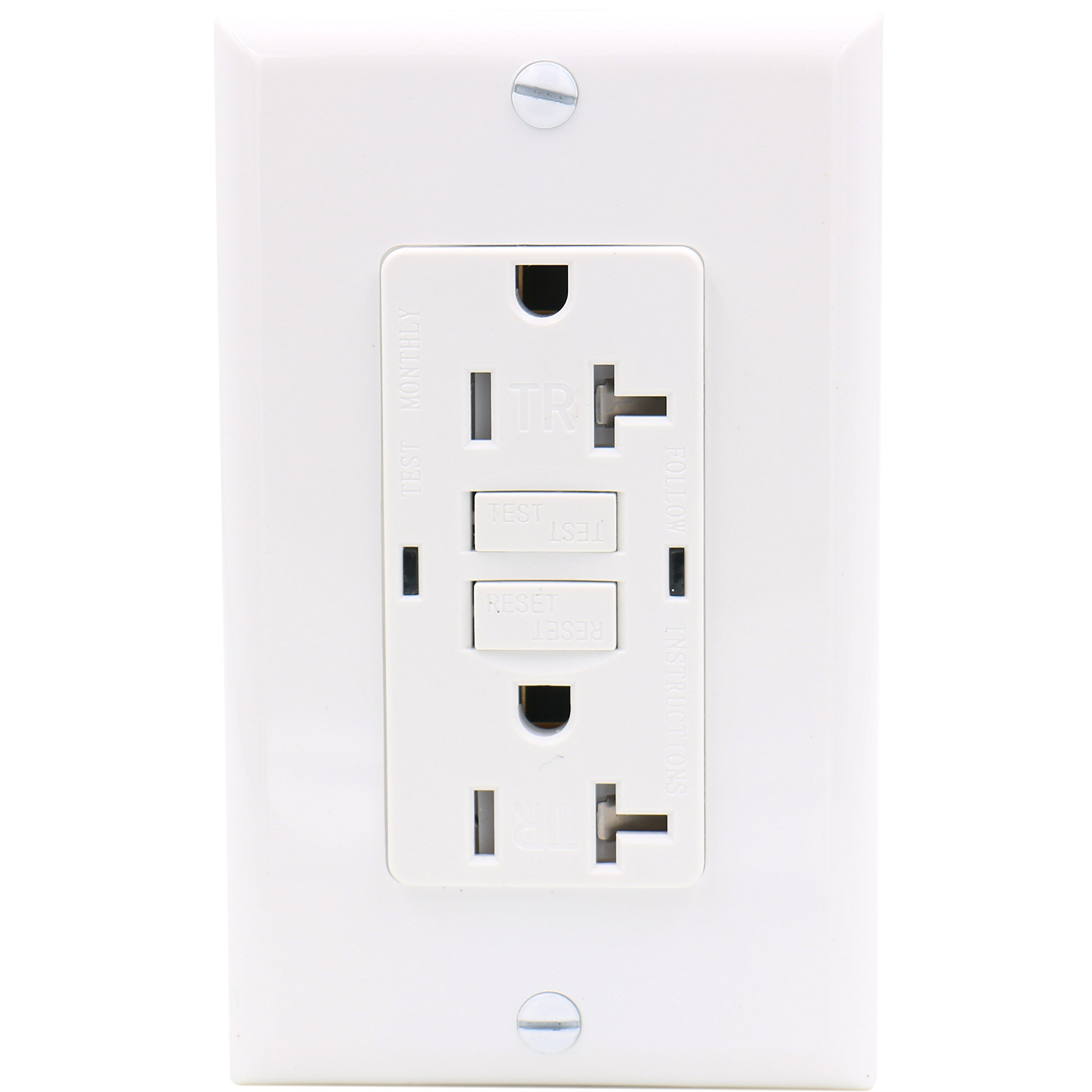Baomain GFCI Outlet Receptacle 20Amp 120VAC 60Hz Tamper-Resistant Outlet, Ground Fault Circuit Interruptor, LED indicator UL&CUL listed with Wall Plate White