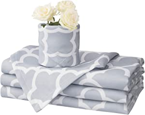 Eforcurtain Cloth Napkins Set of 4 Pieces Elegant Trellis Napkins Durable Fabric Washable and Reusable Dinner Napkins Spillproof 17x17 Inch, Light Grey