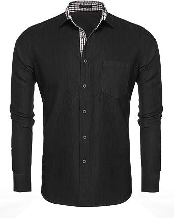 Coofandy - Camisa de vestir casual para hombre, color negro: Amazon.es: Ropa y accesorios