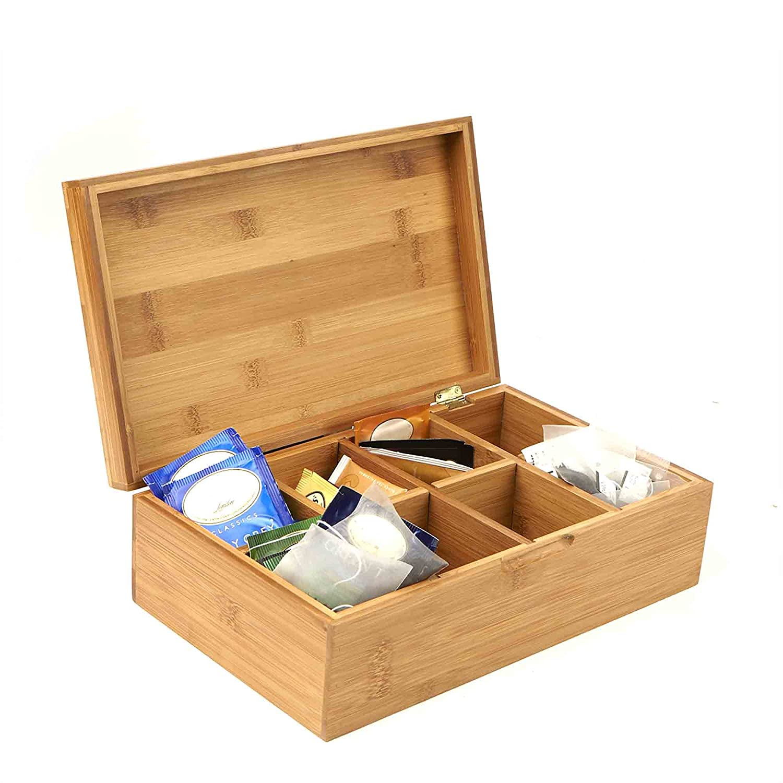 Amazoncom Mind Reader Bamboo Tea Box Storage Organizer, 8 Compartment