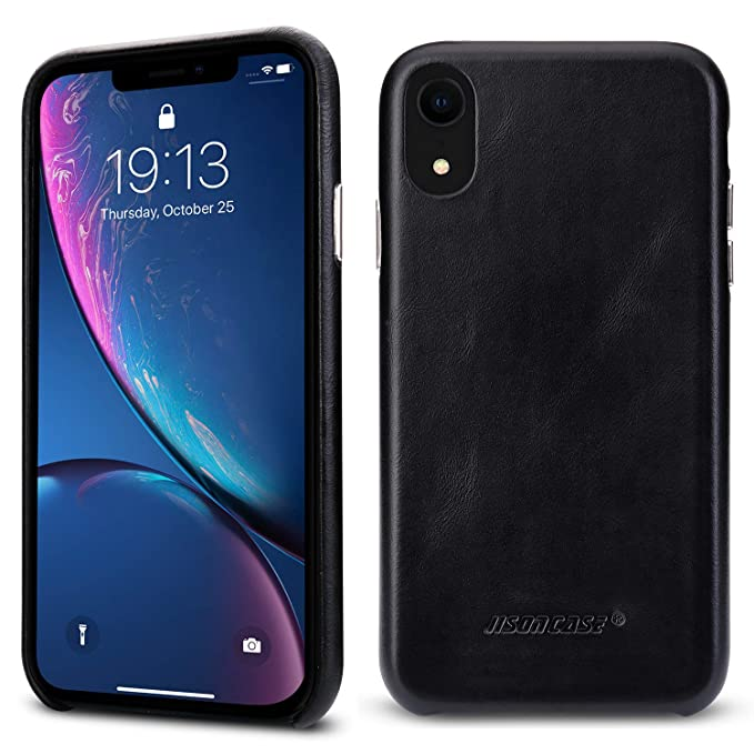 purchase cheap 81524 a36a3 Jisoncase iPhone XR Leather Case Cover Slim Shell Snap-on Cases with  Protective Silver Side Buttons Compatible Apple 2018 New iPhone XR 6.1''  Black ...