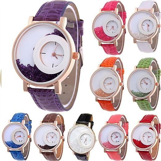 Paquete de 10 relojes femeninos marca YUNANWA, al por mayor, con correa de cuero y efecto de arenas movedizas, reloj pulsera de vestir.: Amazon.es: Relojes