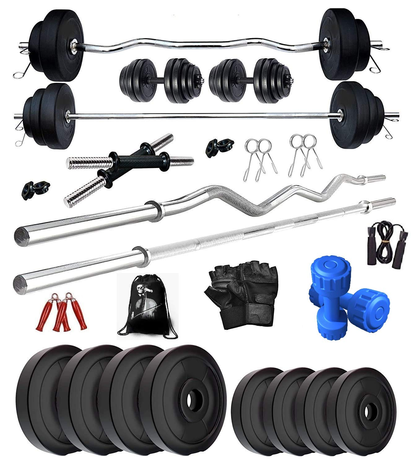 Heavy Duty Curl Bar with Weights 30kg Fitness Gym Training 4 Plates Brand New