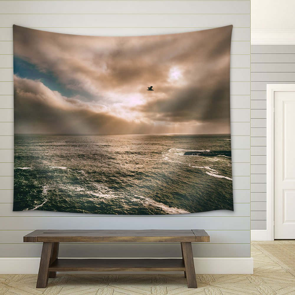 Beautiful Scenery With A Bird Flying Over Sea Fabric Wall