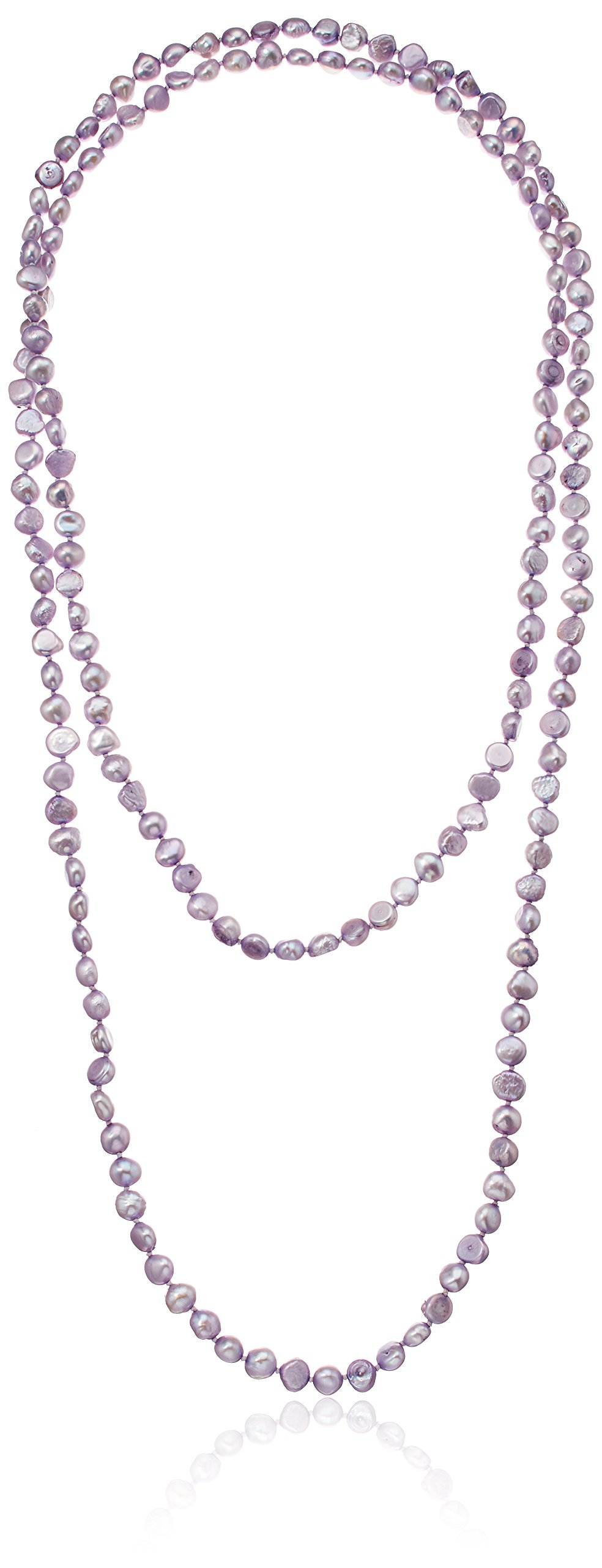 Dyed Lavender Color Baroque Freshwater Cultured Pearl Strand, 50''