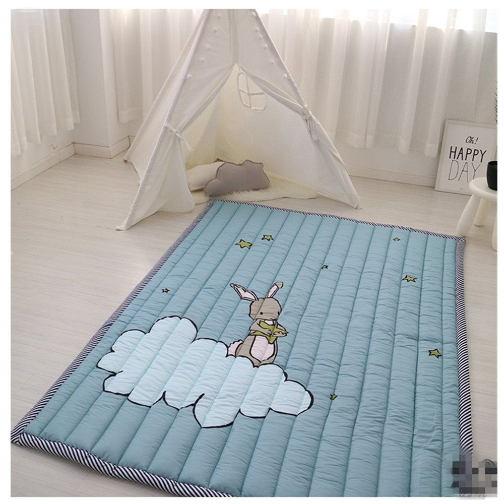 Ustide Cute Rabbit Baby's Mat,Non-slip Washable Children Crawling Mat,4.8-6.4 Feet