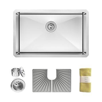 Zuhne Modena 28 Inch Undermount Single Bowl 16 Gauge Handmade Stainless Steel Kitchen Sink