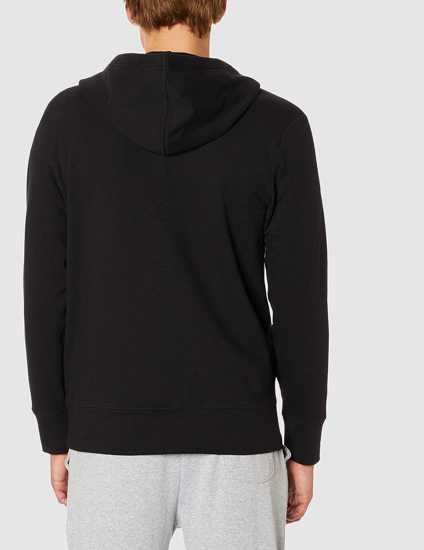 Calvin Klein Hooded Sweatshirt Man CK Item NM1752E Full Zip Hoodie 001 Nero - Black