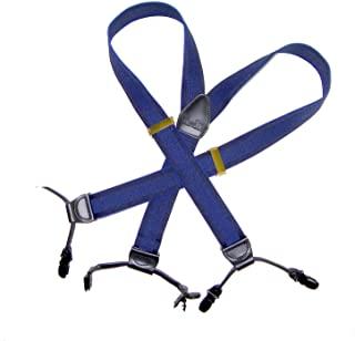 product image for Indigo Blue Dual-clip Double-Up Holdup Suspenders with patented no-slip clips