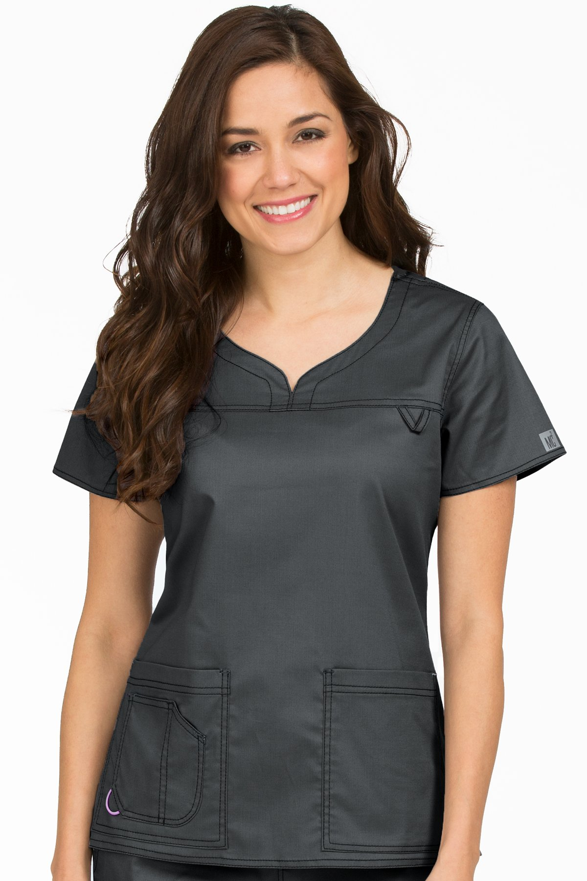 Med Couture Women's 'MC2' Sport Neckline Lexi Scrub Top, Pewter, Large