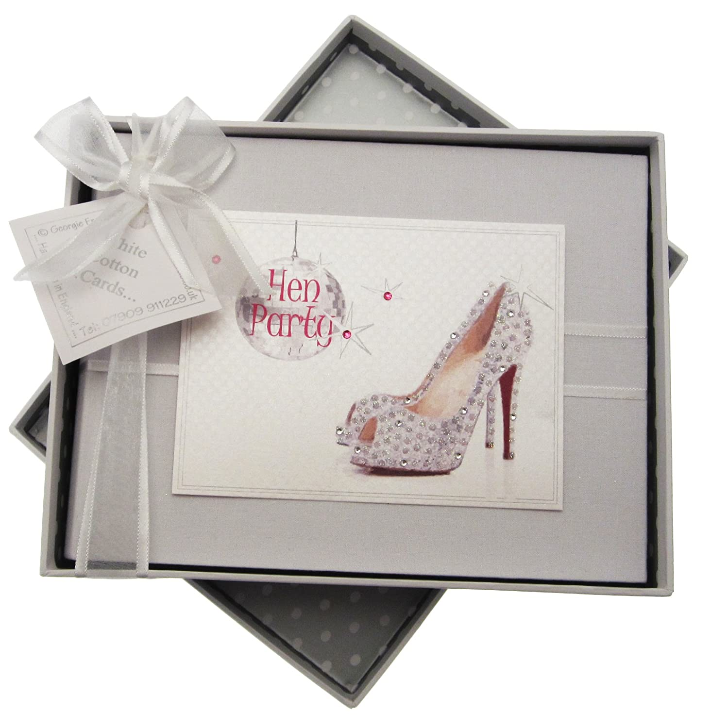 Glitter Ball//Sparkly Shoe white cotton cards Hen Party Photo Album
