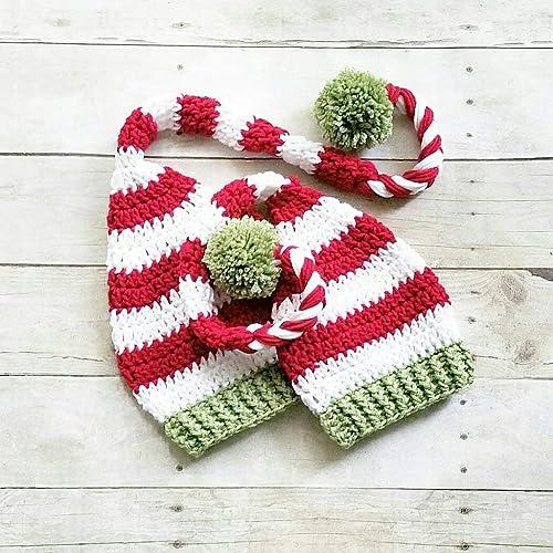 Amazoncom Crochet Christmas Striped Beanie Hat Stocking Cap Handmade