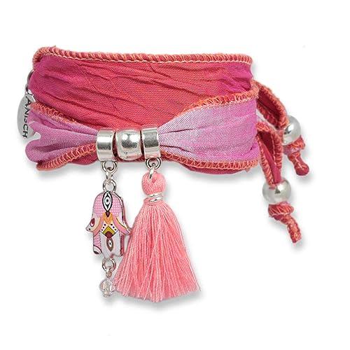 Anisch de la Cara Mujeres Pulsera Rosé - Pulsera Sweet Fatima Hecha de Saris Indios Hand of Fatima - Arte no 90114-c: Amazon.es: Joyería