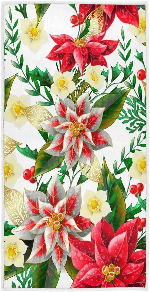 REFFW Bath Towels Hand Highly Absorbent Graduation Decorative Christmas Poinsettia Holly Fir Pine Tree Soft Large Guest Multipurpose for Bathroom Home Hotel Gym Spa