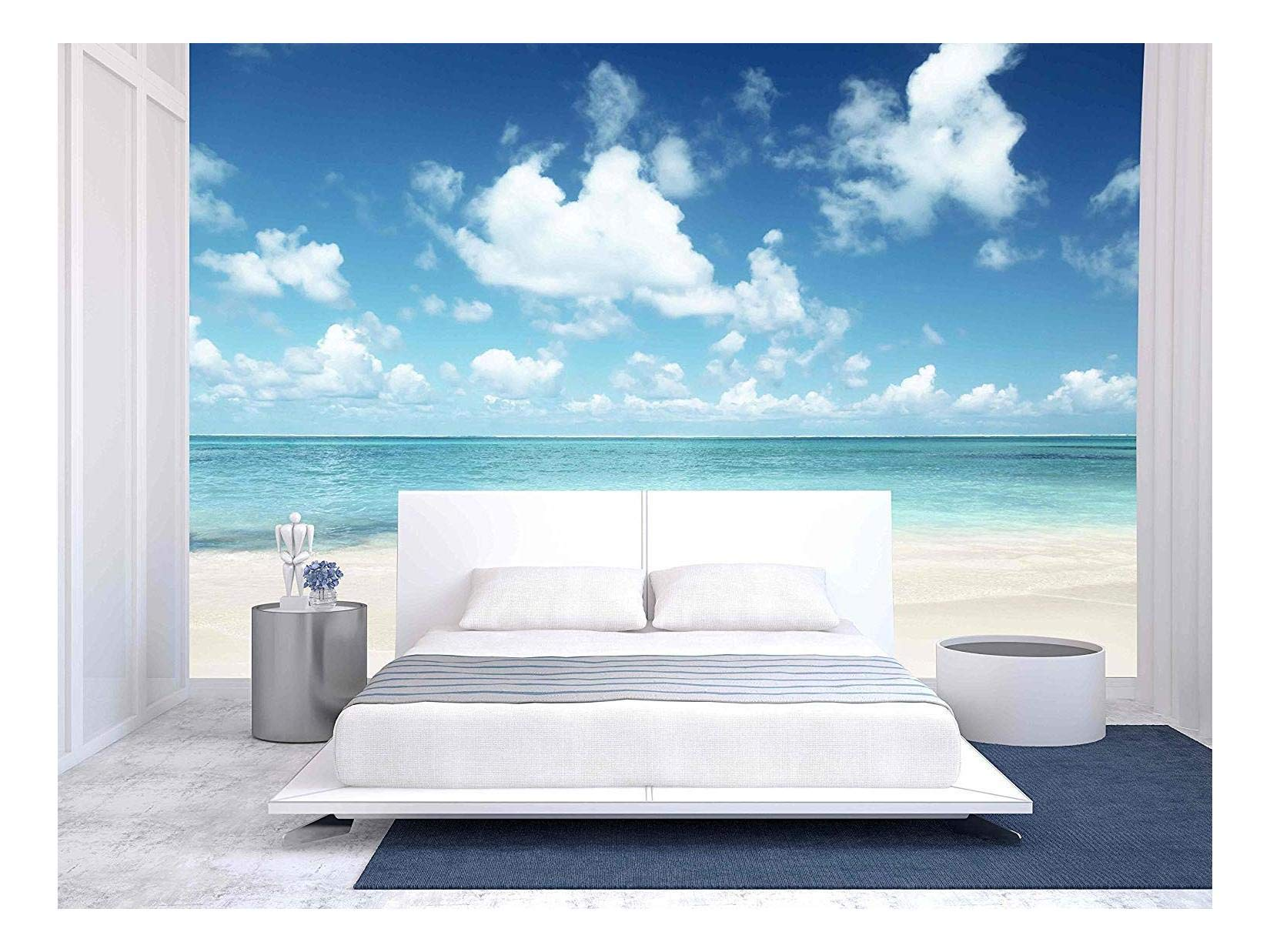 wall26 - Sand of Beach Caribbean Sea - Removable Wall Mural | Self-Adhesive Large Wallpaper - 66x96 inches by wall26