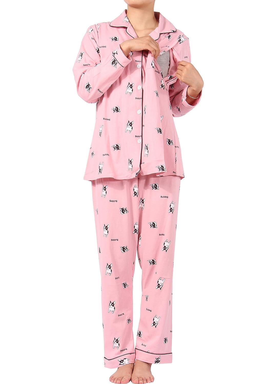 MAMAFLY Women's Cartoon Animal Pattern Maternity Nursing Cotton Pajamas Breastfeeding Sleepwear Set 2