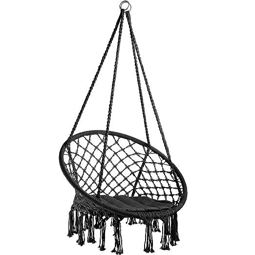TecTake 800689 - Silla Colgante, Hamaca con Cojín, Estructura de Acero, Ideal para Jardín Exterior Terraza (Negro | No. 403115)
