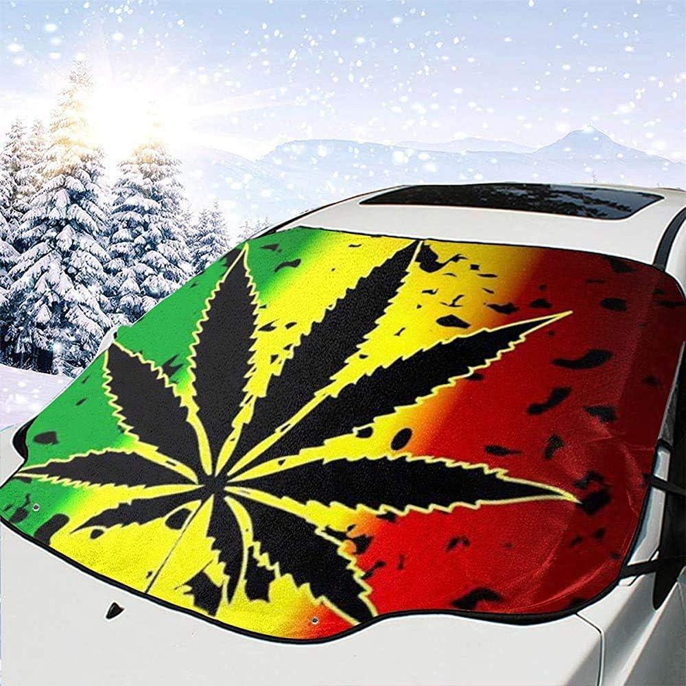 BI HomeDecor Car Sunshade,Marihuana Hierba Cannabis Maceta Hoja Planta Protector del Coche Reflectores Solares para SUV De Vehículos Automotrices,147x118cm
